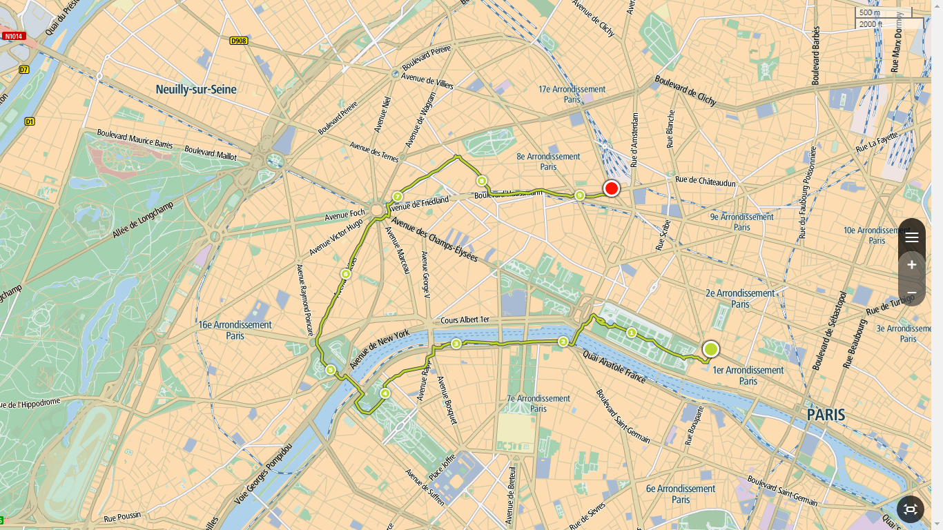 Parijs, de gelopen route