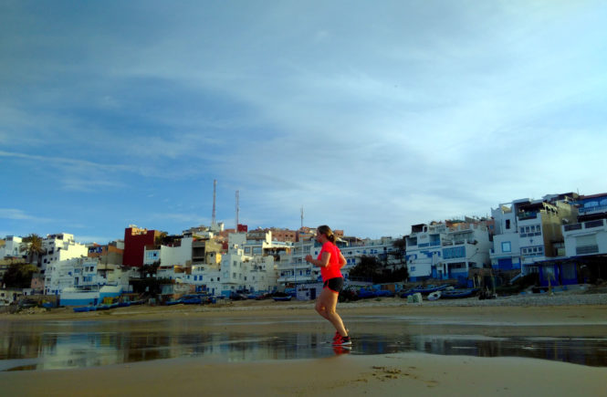 Hardlopen strand Taghazout Marokko